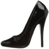Preto Verniz 15 cm DOMINA-420 Sapatos Scarpin Stiletto Salto Agulha