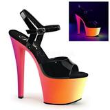 Preto Verniz 18 cm RAINBOW-309UV Sandálias Plataforma Neon