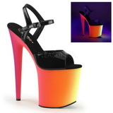 Preto Verniz 20 cm RAINBOW-809UV Sandálias Plataforma Neon