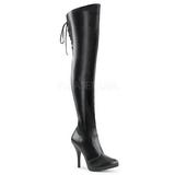 Preto imitação couro 12,5 cm EVE-312 botas altas cano longo