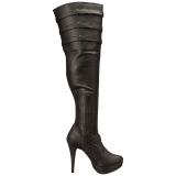 Preto imitação couro 13 cm CHLOE-308 botas altas cano longo