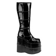 Preto vinil 18 cm STACK-301 botas demonia - botas de cyberpunk unisex