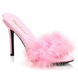 Rosa 10 cm CLASSIQUE-01F tamancos mulher com marabu penas