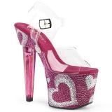 Rosa 18 cm LOVESICK-708HEART Pedras Brilhando calçados femininos salto alto