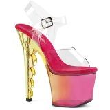 Rosa 18 cm SCALLOP-708MCT Plataforma Sapatos Salto Alto