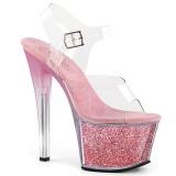 Rosa 18 cm SKY-308G-T brilho plataforma sandálias mulher