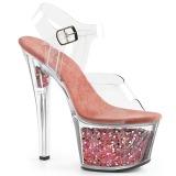 Rosa 18 cm SKY-308GF brilho plataforma sandálias mulher