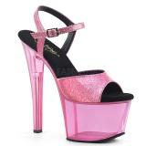 Rosa 18 cm SKY-309GPT brilho plataforma sandálias mulher