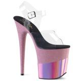 Rosa 20 cm FLAMINGO-808-2HGM brilho plataforma sandálias mulher