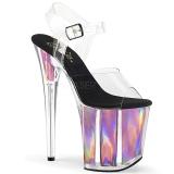 Rosa 20 cm FLAMINGO-808HGI Holograma plataforma salto alto mulher