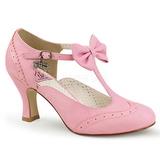 Rosa 7,5 cm retro vintage FLAPPER-11 Pinup sapatos scarpin com saltos baixos