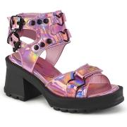 Rosa 7 cm Demonia BRATTY-07 sandálias de saltos chunky plataforma