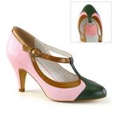 Rosa 8 cm retro vintage PEACH-03 Pinup sapatos scarpin com saltos baixos