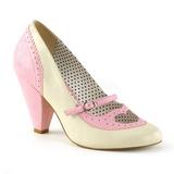 Rosa 9,5 cm POPPY-18 Pinup sapatos scarpin com saltos baixos