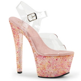 Rosa Cristal 18 cm CRYSTALIZE-308TL sandálias para noite de gala