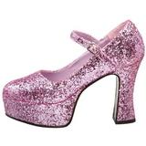 Rosa Glitter 11 cm MARYJANE-50G Plataforma Scarpin Mary Jane