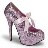 Rosa Glitter 14,5 cm TEEZE-10G Platform Scarpin Sapatos
