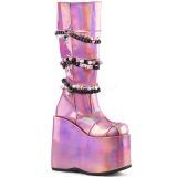 Rosa Imitação Couro 18 cm SLAY-301 botas plataforma góticos