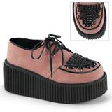 Rosa Imitação Couro CREEPER-216 sapatos creepers de mulher rockabilly