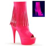 Rosa Neon 15 cm DELIGHT-1019 botinha com franjas salto alto