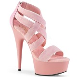 Rosa banda elástica 15 cm DELIGHT-669 sapatos pleaser femininos