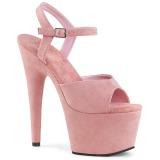 Rosa imitação de couro 18 cm ADORE-709FS sandálias de salto alto