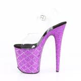 Roxo 20 cm FLAMINGO-808MSLG brilho plataforma sandálias mulher