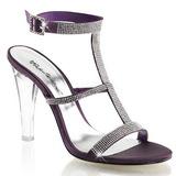 Roxo Cristal 11,5 cm CLEARLY-418 sandálias para noite de gala