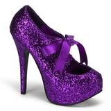 Roxo Glitter 14,5 cm TEEZE-10G Platform Scarpin Sapatos