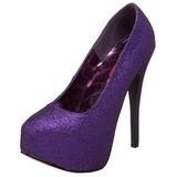 Roxo Glitter 14,5 cm TEEZE-31G Platform Scarpin Sapatos