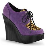 Roxo Imitação Couro CREEPER-304 sapatos creepers cunha altos