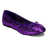 Roxo STAR-16G brilho sapatas da bailarina mulher baixos altos