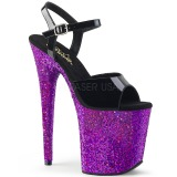 Roxo brilho 20 cm Pleaser FLAMINGO-809LG sapatos de saltos pole dance