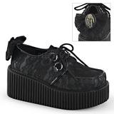 Tecido de renda CREEPER-212 Creepers Sapatos Mulher Plataforma