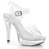Transparente 13 cm COCKTAIL-508SD Plataforma sapatos de salto com strass