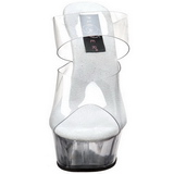 Transparente 15,5 cm Pleaser DELIGHT-602 Plataforma Tamancos Altos