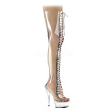 Transparente 15 cm DELIGHT-3026 botas altas da coxa com ataduras