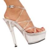 Transparente 15 cm KISS-206 Plateau Sapatos Salto Alto