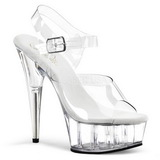 Transparente 15 cm Pleaser DELIGHT-608 Saltos Altos Plataforma