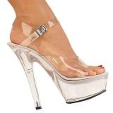 Transparente 15 cm Pleaser KISS-208 Plataforma Sapatos Salto Alto