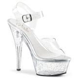 Transparente 15 cm Pleaser KISS-208MMG sapatos de salto alto brilho