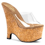 Transparente 16,5 cm Pleaser BEAU-601 Sapatos Cunha Alto Cortica