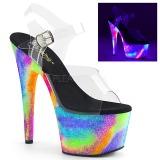 Transparente 18 cm ADORE-708GXY Neon plataforma salto alto mulher