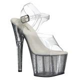 Transparente 18 cm ADORE-708MG brilho plataforma salto alto mulher