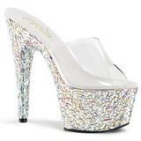 Transparente 18 cm BEJEWELED-701MR Pedras Brilhando Plataforma Sapatos