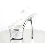 Transparente 18 cm ESTEEM-708CHLG plataforma sandálias de saltos pole dance prata