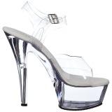 Transparente 18 cm Pleaser KISS-208 Plataforma Sapatos Salto Alto
