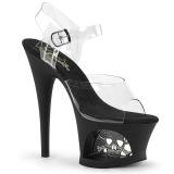Transparente 18 cm Pleaser MOON-708SK Plataforma Sapatos Salto Alto