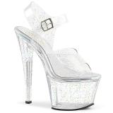 Transparente 18 cm Pleaser SKY-308MMG sapatos de salto alto brilho