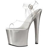 Transparente 19 cm TABOO-708 Cromo Plataforma Sapatos Salto Alto